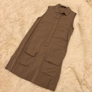 MANGO Basics Safari Button Front Sleeveless Tan